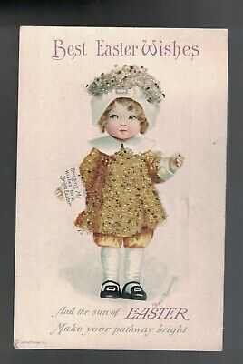 Clapsaddle Easter Bead Applique Blond Girl In Gold Dress 1910 A/S