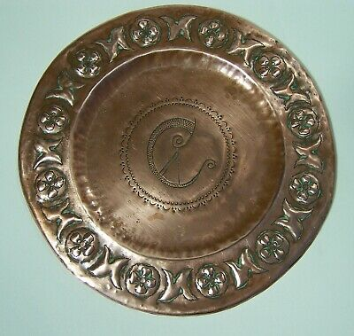 ARTS & CRAFTS COPPER WALL PLATE  or PLAQUE HAND MADE WITH REPOUSSE DECORATION