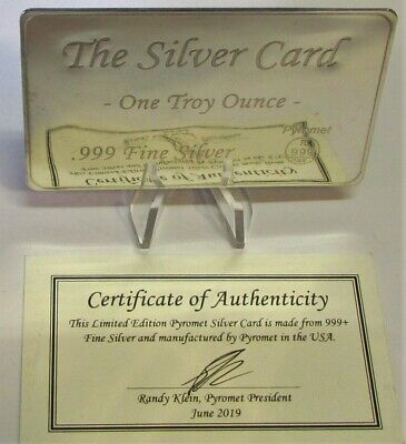 Solid Silver Credit Card Style 999 Troy Ounce. Pyromet Limited Edition STUNNING