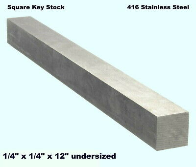 "Square Key Stock Solid  416 Stainless Steel  1/4"" x 1/4"" x 36""  Undersized"