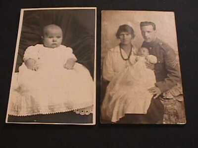 2 Real Photo Postcards With Babies In Views & One Soldier Family