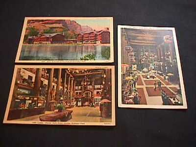 3 Lobby And Hotel, Glacier National Park Collectible Postcards