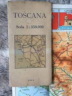 Vintage Map Of Tuscany 'Toscana' From 1960. Cartography of Italy. Maps.