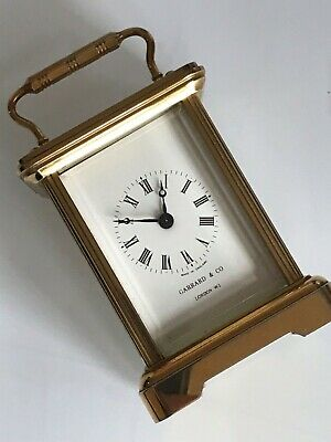 Vintage Small Garrard & Co Brass Mechanical Key Wind Carriage Clock 3 inches tal