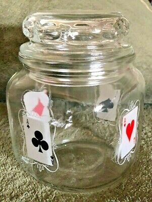 Duraglas Glass Canister Decorated with Playing Cards  Includes Glass Lid