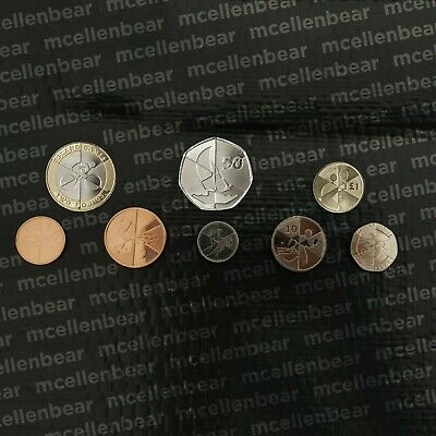 Gibraltar Island Games FULL Coin Set £2,£1,50p,20p,10p,5p,2p,1p Two Pound, Fifty