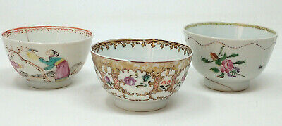 Three Chinese Antique Porcelain Tea Bowl 18th Century Famille Rose Teabowl