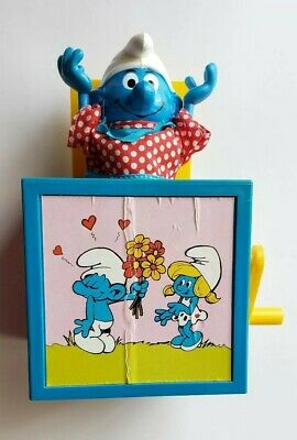 1982 Vintage Smurfs Jack In The Box Galoob  Wallace Berrie Peyo Smurf