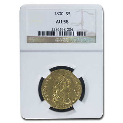 1800 $5 Turban Head Gold Half Eagle AU-58 NGC - SKU#172916