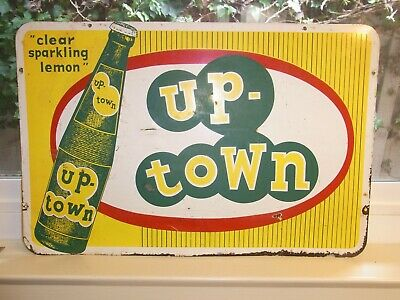 "Vintage Up-Town Clear Sparkling Lemon Soda Pop Sign 12 X 18 3/8"" Double Sided"