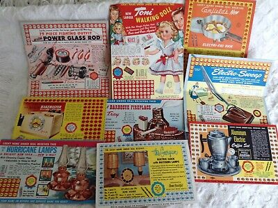 9 Vintage 1950s Punch Board Cards with Great Mid Century Modern Gifts !