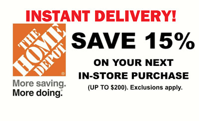 [[ INSTANT ]] ONE 1X 15% OFF Home Depot In-Store Sent Fast Coupon ONLY 1MIN!