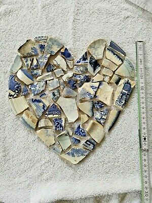 Broken Blue Vintage China pieces Art Mosaic Jewellery rare hand collected washed