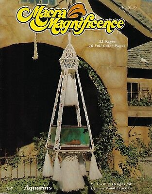 Rare Vintage 1976 Macra Magnificence Macrame Book w/ Hanging Table Patterns MM1