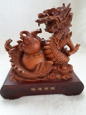 Chinese Dragon on Wood Base - Feng Shui  - Carved Resin Wood