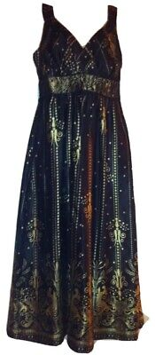 Signature By Robbie Bee Womens Size 6 Black Gold Dress $115.00 New