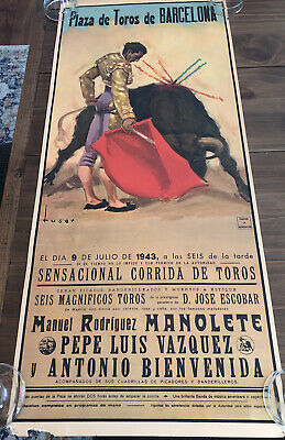 "1943 Spain Plaza de Toros de Barcelona Bullfighting Travel Poster Tuser 18""x 42"""