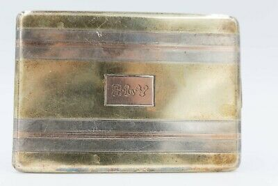 Vintage Cigarette Case 14K Yellow, Rose Gold and Sterling Silver