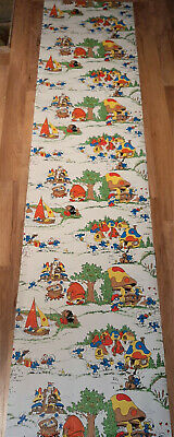 "Vintage Smurf Collectible Wallpaper 21"" x 7 1/2' Roll Copyright Signed Peyo 1981"