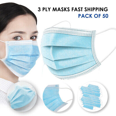 3-Ply Disposable Safety Face Masks Packs of 50 Same day Shipping  USA 3 Layer
