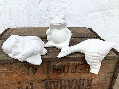 Paint Your Own Pottery Duck, Rabbit & Frog Ceramic Ornaments Craft Gift