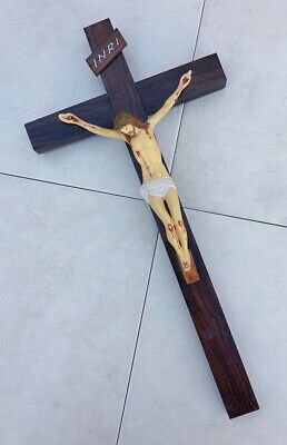 VERY LARGE VINTAGE WOODEN CRUCIFIX WITH HAND PAINTED RESIN FIGURE. Ready To Hang