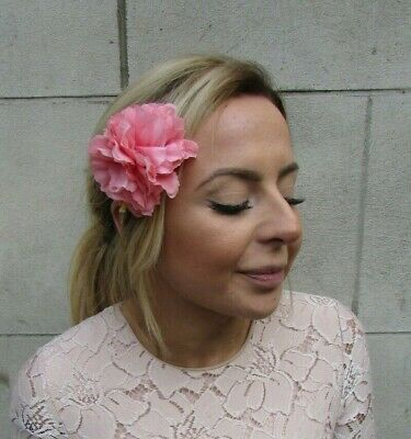 Double Salmon Pink Peony Flower Hair Clip Floral Fascinator Rose Vtg 1950s 0422