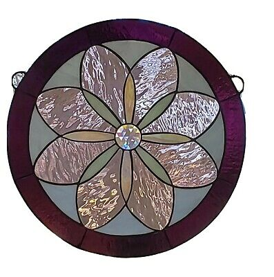 Wine,Pink, Jeweled Stained Glass Window Hanging ,Round Panel