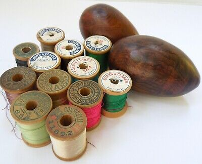 VTG Antique wood Spools & darning eggs Darners Lot Corticelli Belding Salter's +