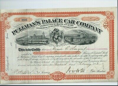 USA stock 1882 Pullmans Palace Car - vignette of St Pancras Station London