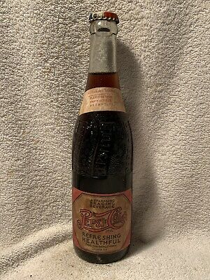 RARE FULL 12oz PEPSI-COLA DOUBLE DOT PAPER LABEL AMBER BOTTLE COLUMBUS, GA