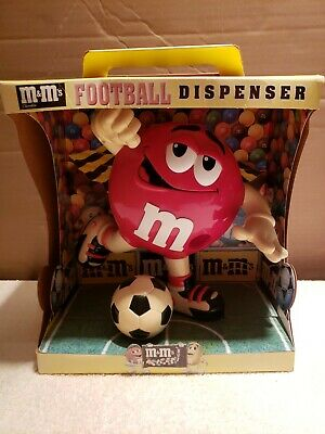 M&M's RED CANDY DISPENSER Large with soccer ball football Mars Rare??