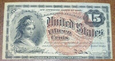 1863 Civil War 15 Cent Fractional Note Bill American Currency - Free Shipping!