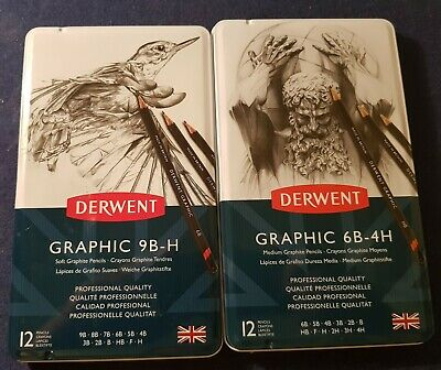 Derwent Two X Graphic Pencils Tins Sets 6B-4H And 9B-H  New Sealed Condition