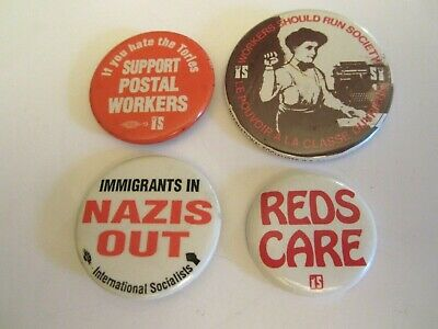 International Socialists (IS) Lot of 4 political pinback buttons (1)