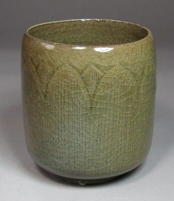 A Rare and Fine Korean Incised Lotus Petals Celadon Cylindrical Shape Cup