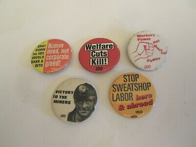 International Socialist Organization (ISO) - Lot of political pinback buttons