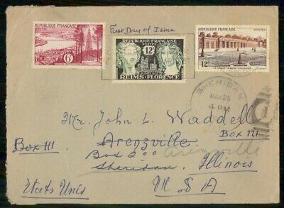 Mayfairstamps France 1950s Sheridan to US Multifranked Cover wwe94597