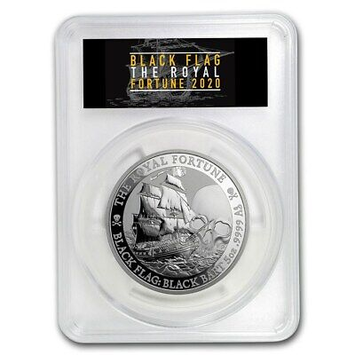 2020 Tuvalu Black Flag Series The Royal Fortune 5 oz Silver PCGS MS-70 FS Coin