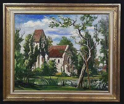 Pierre LECONTE (1904-1961) Eglise de Criquebeuf Framed oil painting Normandie