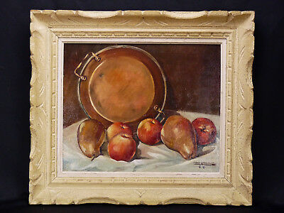 Nature morte poires pommes fruits cuisine France vintage signature montparnasse