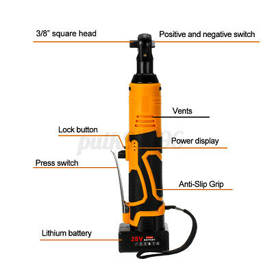 Cordless Angle Wrench 15600mah 28V 3/8'' 60Nm Torque Power Ratchet+2pcs Battery
