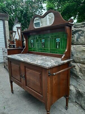 Original Art Nouveau Marble topped Washstand