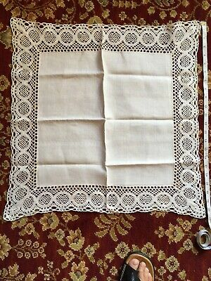 "Vintage Linen Tray Cloth 23"" Square. Lace Border Good Condition Ivory/White"