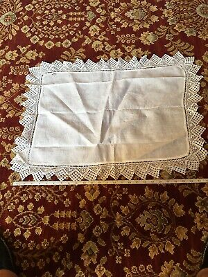 """Vintage Linen Large Tray Cloth With Handmade Lace Border 20"""" X 27"""" Showing Age"""