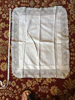 Vintage Large Linen Tray Cloth With Deep Handmade Lace Border. White.