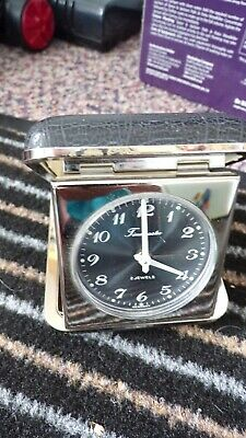 Vintage German Timemaster 2 Jewel Chrome Travel Alarm Clock In Leather Case