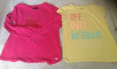 "2x Gap Kids Girls Tops - Pink With Bird & Yellow ""Off Duty Mermaid"". 12-13 Age"