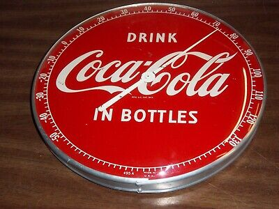 """Vintage 1950's COCA-COLA ROUND """"PAM STYLE"""" THERMOMETER, with Glass Front - Nice"""