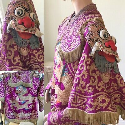 Antique Metallic Embroidered Chinese Opera Costume Qing Dynasty Rare